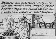 Demea, tired of walking about (image from H. Oberst, Terenz in Comics)
