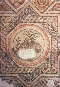 The Easter Bunny in Roman Britain (or not): The famous Hare mosaic from Cirencester. – Photo courtesy of Tripadvisor (source: http://media-cdn.tripadvisor.com/media/photo-s/01/11/9d/e4/the-museum-s-famous-hare.jpg)