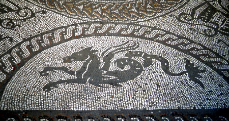 Seahorse mosaic from the Roman palace at Fishbourne (Sussex). – Image source: http://www.vroma.org/images/bonvallet_images/bonvall41.jpg.