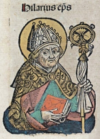 Pope Hilarius. – Image source: http://upload.wikimedia.org/wikipedia/commons/4/45/Nuremberg_chronicles_f_131r_3..jpg.
