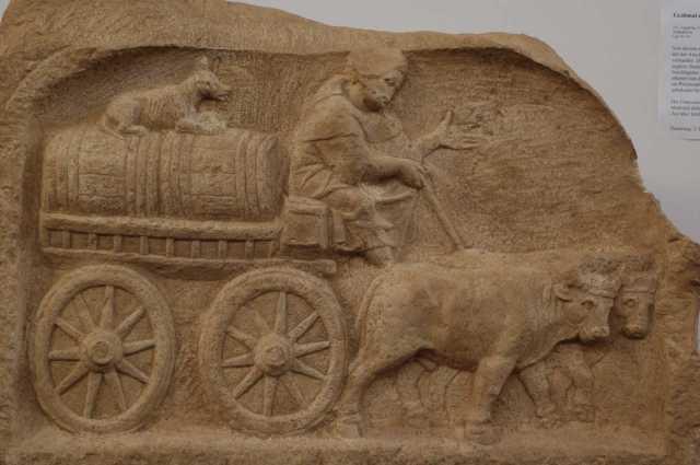 Roman oxcart. –Image source: http://www.electrummagazine.com/wp-content/uploads/2014/02/Roman-wine-trade-Augsburg-Romam-Museum.jpg.