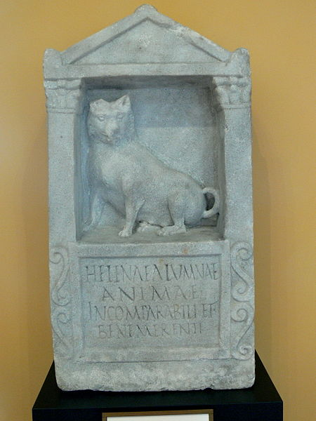 Inscription for Helena (CIL VI 19190) with dog relief. – Image source here.