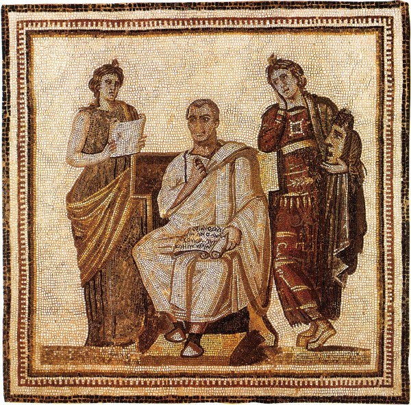 The poet Vergil and two Muses. Mosaic from Hadrumetum/Sousse. – Image source: http://www.vanderbilt.edu/AnS/Classics/roman_provinces/mosaics%20of%20roman%20africa/The%20poet%20Virgil%20and%20two%20muses.JPG.