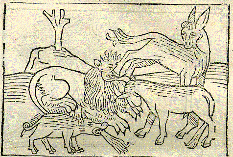 Illustration from Sebastian Brant's 'Esopi Appologi' (early 1500s). – Image source (cropped): http://www.uni-mannheim.de/mateo/desbillons/esop/seite62.html.