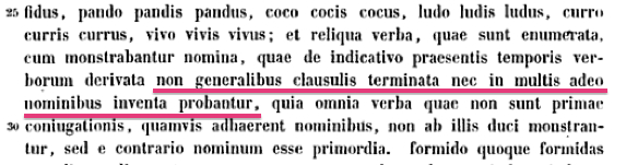 You can't just randomly stick '-us/a/um' onto Latin verb stems, says Eutyches: It's a big NO-NO!