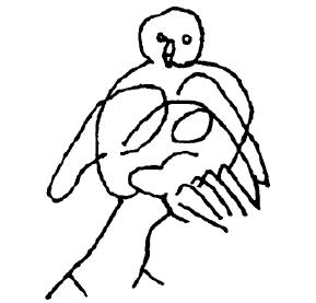 Drawing of an owl. –Image source: Langner, Graffitizeichnungen.