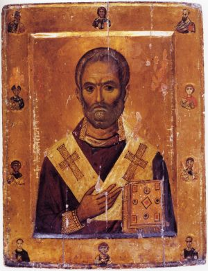 St Nicholas. 10th Century icon. – Image source: https://iconreader.files.wordpress.com/2011/12/sinai_10c.jpg.