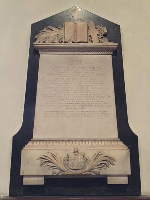 Plaque to John Cecil Grainger in St Giles Church