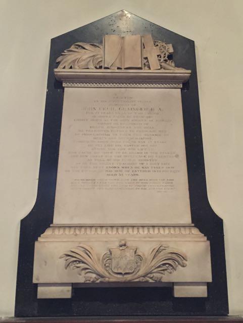 Plaque to John Cecil Grainger in St Giles Church